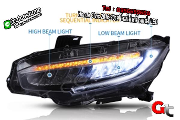 แต่งรถ Honda Civic 2016-2019 โคมไฟหน้าหแต่ง LED